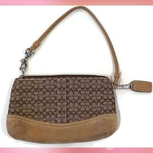 Authentic Coach Signature Wristlet Brown Suede